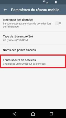 Échec réseau appel Sony android 7 fournisseurs services