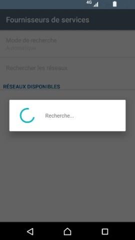 Échec réseau appel Sony android 7 recherche