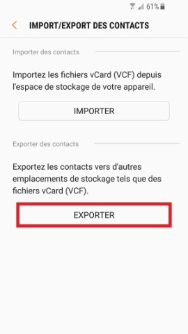 contact code pin ecran verrouillage Samsung (android 7.0) exporter