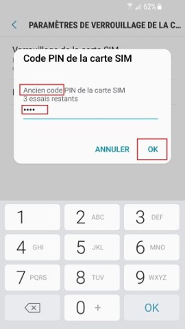 contact code pin ecran verrouillage Samsung (android 7.0) ancien code