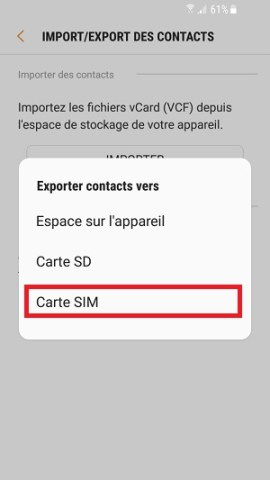 contact code pin ecran verrouillage Samsung (android 7.0) carte SIM