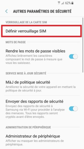contact code pin ecran verrouillage Samsung (android 7.0) verrouillage SIM