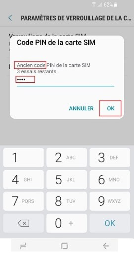 contact code pin ecran verrouillage Samsung S8 code pin