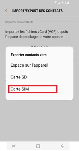 contact code pin ecran verrouillage Samsung S8 carte SIM