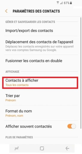 contact code pin ecran verrouillage Samsung S8 paramètres contacts à afficher
