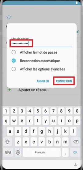 Activation Samsung Galaxy S8 mot de passe wifi