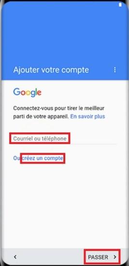 Activation Samsung Galaxy S8 compte google