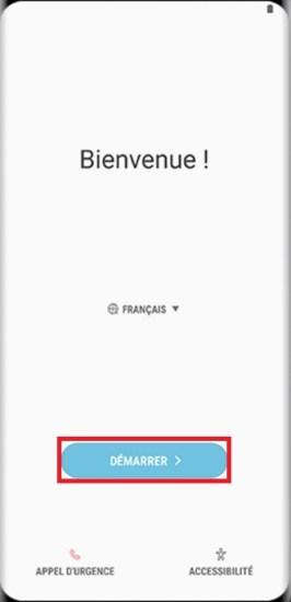 Activation Samsung Galaxy S8 démarrer