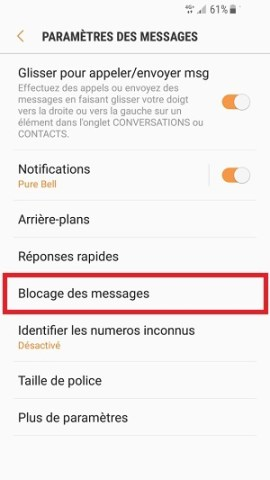 SMS Samsung android 7 blocage des numéros