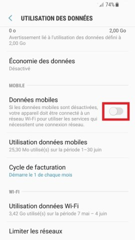 MMS Samsung android 7 données mobiles
