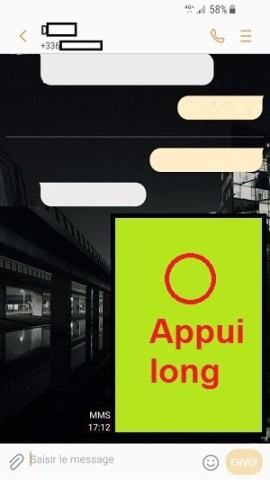 MMS Samsung android 7 appui long