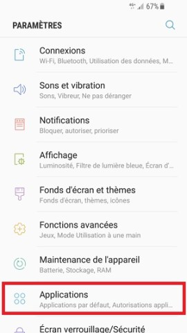application Samsung android 7 nougat desinstaller