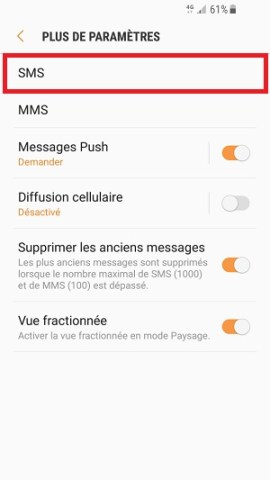SMS Samsung android 7