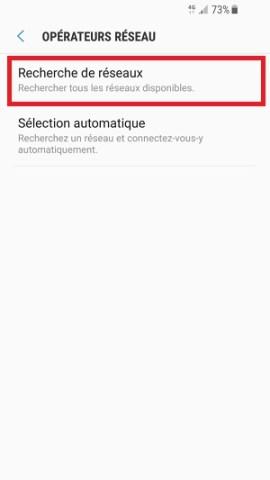 Échec réseau appel Samsung android 7 recherche de réseaux