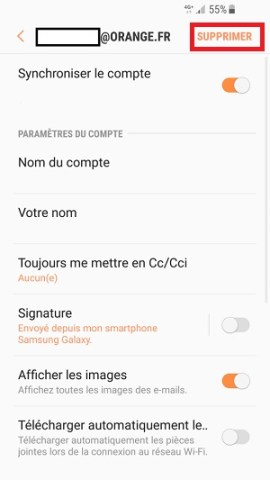 mail Samsung android 7 nougat supprimer