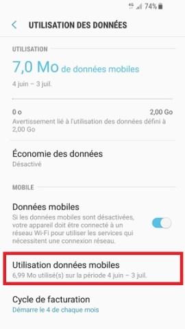 internet Samsung android 7 utilisation des données mobiles