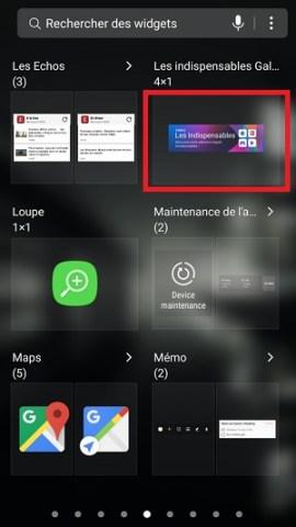 Personnaliser Samsung Galaxy S8 Widget
