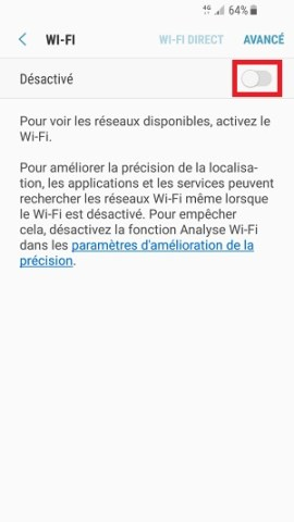 internet Samsung android 7 Wi-Fi desactivé
