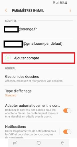mail Samsung S8 ajouter compte