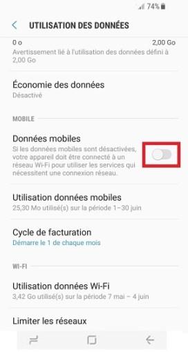 autonomie Samsung S8 données mobiles desactivé