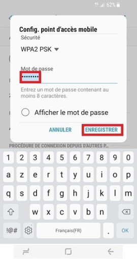 internet Samsung Galaxy S8 point accès mobile