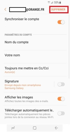 mail Samsung S8 supprimer compte mail