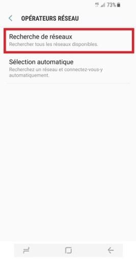 Échec réseau appel Samsung Galaxy S8 recherche de réseaux
