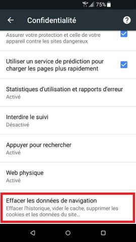 internet HTC android 7 vider le cache navigateur