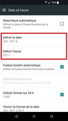 SMS HTC android 7 date et heure