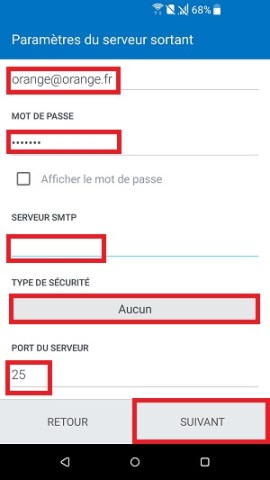 email HTC android 7 nougat configuration manuelle