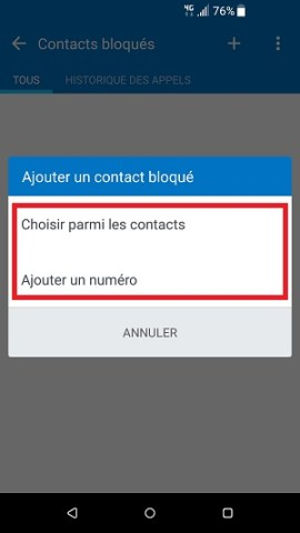 SMS HTC android 7 bloqués contacts