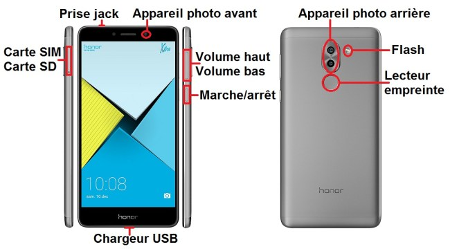 Huawei Honor 6X bouton