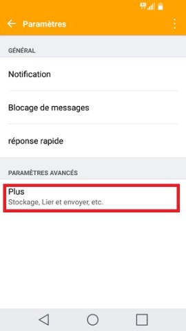 SMS LG android 7 centre de messagerie