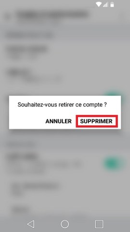mail LG android 7 supprimer
