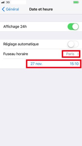 Applications iPhone 8 date et heure