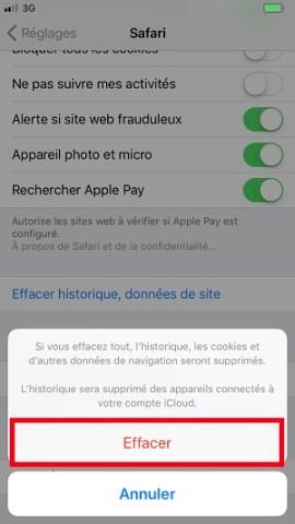 internet iPhone 8 vider le cache safari