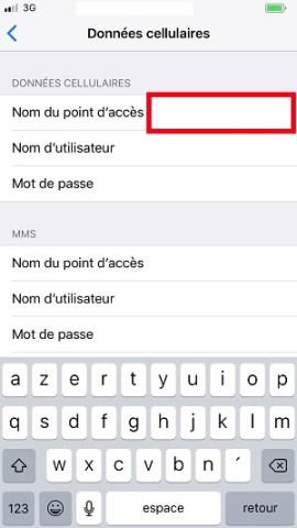 internet iPhone 8 nom du point d'acces