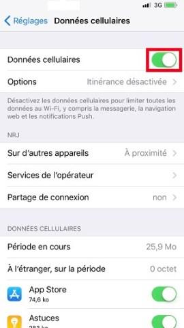 internet iPhone X données cellulaires