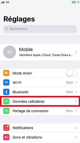 MMS iPhone 6, 6S, Plus, SE donnée cellulaires