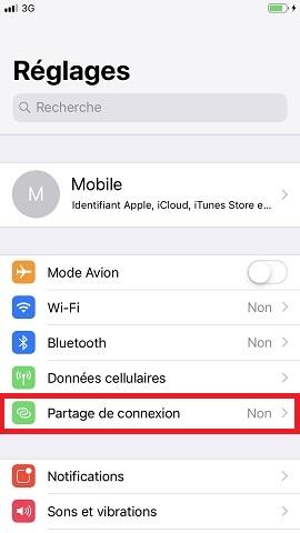 internet iPhone 8 partage internet
