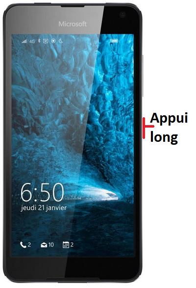 éteindre Lumia 650