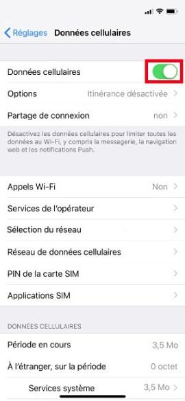 MMS iPhone X données cellulaires