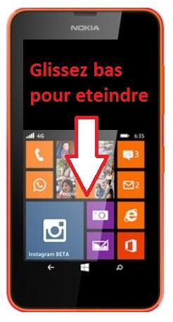 éteindre Lumia 635