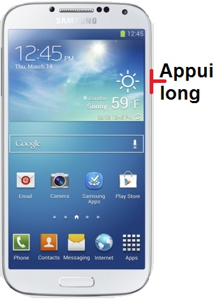 éteindre Samsung S4