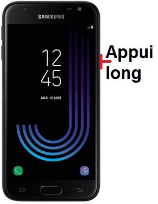 éteindre Samsung J3 2017