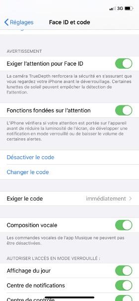 contact code pin ecran verrouillage iphone 8