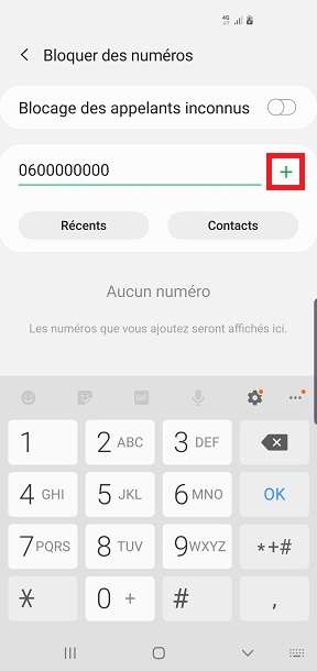 bloquer numéro Samsung A7 2018