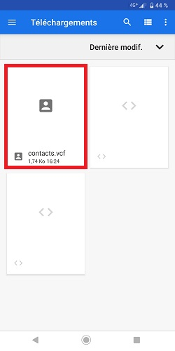 restaurer contacts VCF