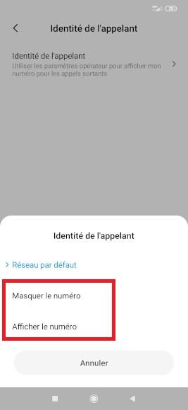 masquer numéro Xiaomi Note 8