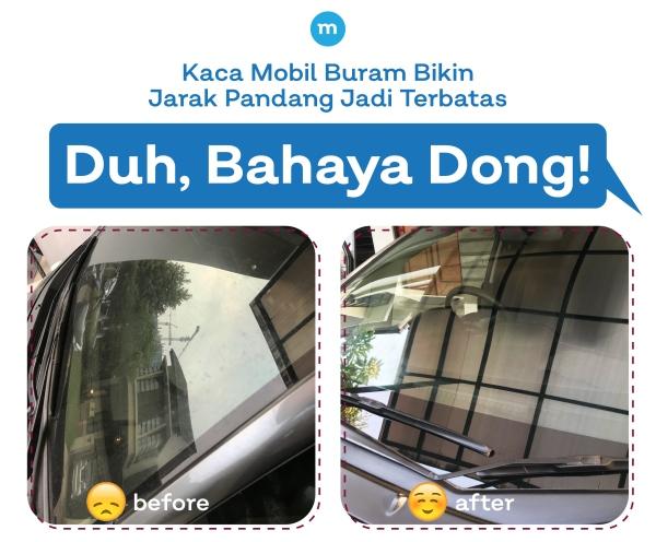 Bersihkan jamur kaca mobil yang membandel.